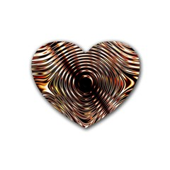 Gold Waves Circles Water Wave Circle Rings Heart Coaster (4 Pack)  by Alisyart