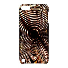 Gold Waves Circles Water Wave Circle Rings Apple Ipod Touch 5 Hardshell Case With Stand by Alisyart