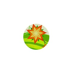Graphics Summer Flower Floral Sunflower Star Orange Green Yellow 1  Mini Buttons by Alisyart