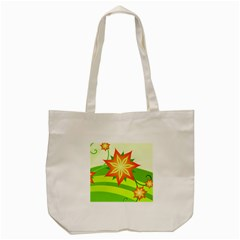 Graphics Summer Flower Floral Sunflower Star Orange Green Yellow Tote Bag (cream) by Alisyart