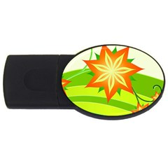 Graphics Summer Flower Floral Sunflower Star Orange Green Yellow Usb Flash Drive Oval (4 Gb) by Alisyart