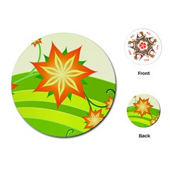 Graphics Summer Flower Floral Sunflower Star Orange Green Yellow Playing Cards (Round)  by Alisyart