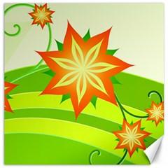 Graphics Summer Flower Floral Sunflower Star Orange Green Yellow Canvas 20  X 20   by Alisyart