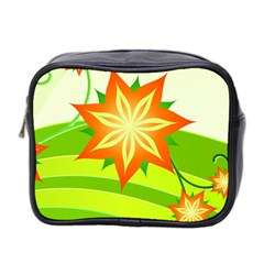 Graphics Summer Flower Floral Sunflower Star Orange Green Yellow Mini Toiletries Bag 2 Side by Alisyart
