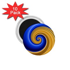 Golden Spiral Gold Blue Wave 1 75  Magnets (10 Pack)  by Alisyart
