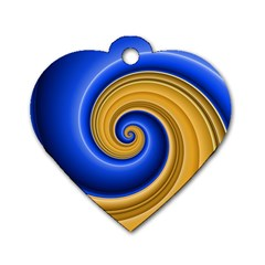 Golden Spiral Gold Blue Wave Dog Tag Heart (one Side) by Alisyart