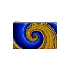 Golden Spiral Gold Blue Wave Cosmetic Bag (small)  by Alisyart
