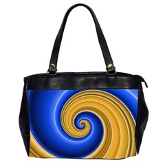 Golden Spiral Gold Blue Wave Office Handbags (2 Sides)  by Alisyart