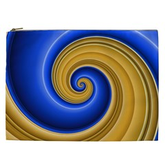 Golden Spiral Gold Blue Wave Cosmetic Bag (xxl)  by Alisyart