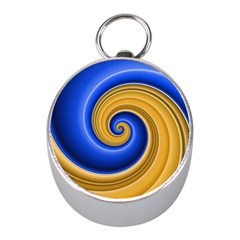 Golden Spiral Gold Blue Wave Mini Silver Compasses by Alisyart