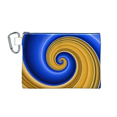 Golden Spiral Gold Blue Wave Canvas Cosmetic Bag (m) by Alisyart