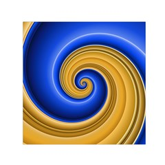 Golden Spiral Gold Blue Wave Small Satin Scarf (square) by Alisyart
