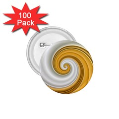 Golden Spiral Gold White Wave 1 75  Buttons (100 Pack)  by Alisyart