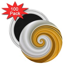 Golden Spiral Gold White Wave 2 25  Magnets (100 Pack)  by Alisyart