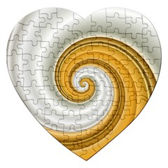 Golden Spiral Gold White Wave Jigsaw Puzzle (heart) by Alisyart