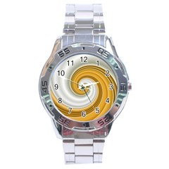 Golden Spiral Gold White Wave Stainless Steel Analogue Watch by Alisyart