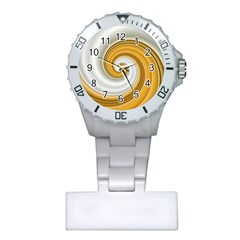 Golden Spiral Gold White Wave Plastic Nurses Watch by Alisyart