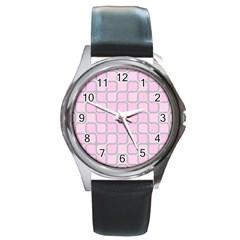 Light Pastel Pink Round Metal Watch by Alisyart