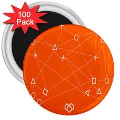 Leadership Deep Dive Orange Line Circle Plaid Triangle 3  Magnets (100 Pack) by Alisyart