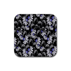Flourish Floral Purple Grey Black Flower Rubber Coaster (square)  by Alisyart
