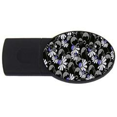 Flourish Floral Purple Grey Black Flower Usb Flash Drive Oval (4 Gb) by Alisyart