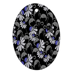 Flourish Floral Purple Grey Black Flower Oval Ornament (two Sides) by Alisyart