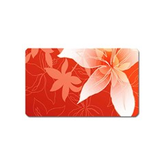 Lily Flowers Graphic White Orange Magnet (name Card) by Alisyart