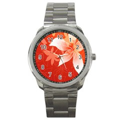 Lily Flowers Graphic White Orange Sport Metal Watch by Alisyart