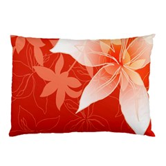 Lily Flowers Graphic White Orange Pillow Case by Alisyart