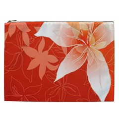 Lily Flowers Graphic White Orange Cosmetic Bag (xxl)  by Alisyart