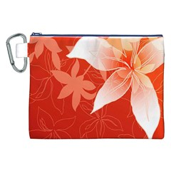 Lily Flowers Graphic White Orange Canvas Cosmetic Bag (xxl) by Alisyart