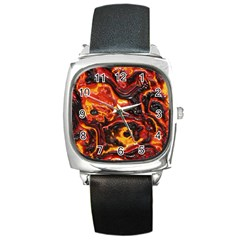 Lava Active Volcano Nature Square Metal Watch by Alisyart