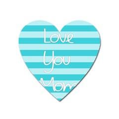 Love You Mom Stripes Line Blue Heart Magnet by Alisyart