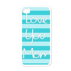 Love You Mom Stripes Line Blue Apple Iphone 4 Case (white) by Alisyart