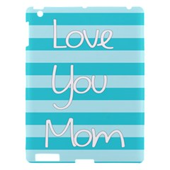 Love You Mom Stripes Line Blue Apple Ipad 3/4 Hardshell Case by Alisyart
