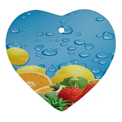 Fruit Water Bubble Lime Blue Heart Ornament (two Sides) by Alisyart