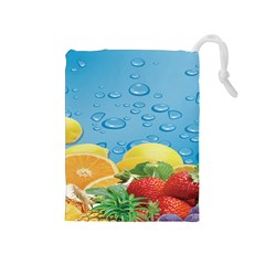Fruit Water Bubble Lime Blue Drawstring Pouches (medium)  by Alisyart