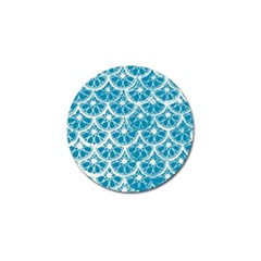 Lime Blue Star Circle Golf Ball Marker by Alisyart