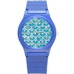 Lime Blue Star Circle Round Plastic Sport Watch (s) by Alisyart
