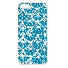 Lime Blue Star Circle Apple Iphone 5 Seamless Case (white) by Alisyart