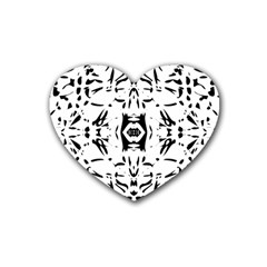 Nums Seamless Tile Mirror Rubber Coaster (heart)  by Alisyart
