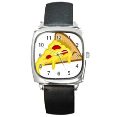 Pasta Salad Pizza Cheese Square Metal Watch by Alisyart