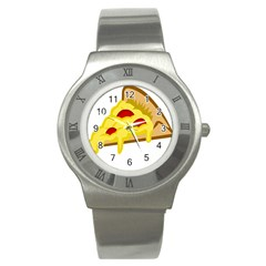 Pasta Salad Pizza Cheese Stainless Steel Watch by Alisyart