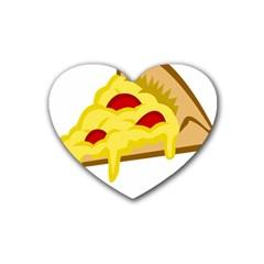 Pasta Salad Pizza Cheese Rubber Coaster (heart)  by Alisyart