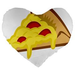 Pasta Salad Pizza Cheese Large 19  Premium Heart Shape Cushions by Alisyart