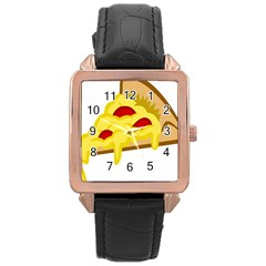 Pasta Salad Pizza Cheese Rose Gold Leather Watch  by Alisyart