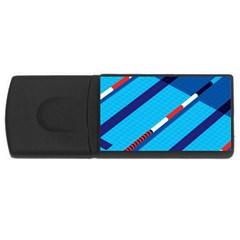 Minimal Swim Blue Illustration Pool Usb Flash Drive Rectangular (4 Gb) by Alisyart