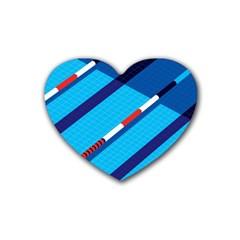 Minimal Swim Blue Illustration Pool Rubber Coaster (heart)  by Alisyart