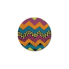 Painted Chevron Pattern Wave Rainbow Color Golf Ball Marker by Alisyart