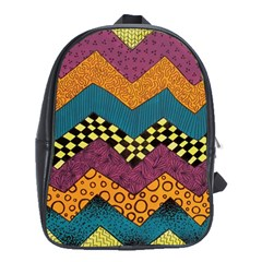 Painted Chevron Pattern Wave Rainbow Color School Bags(large)  by Alisyart